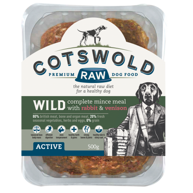 Cotswold Raw dog food wild rabbit and venison mince 80/20