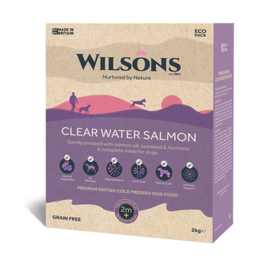 Wilsons cold pressed dog food. Clear water salmon 2kg