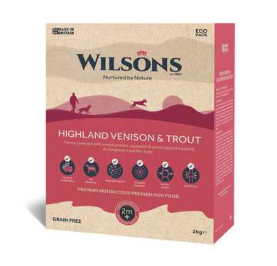 Wilsons cold pressed dog food. Highland venison and trout 10kg