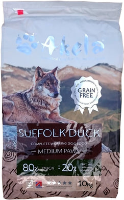 Akela 80/20 dog food Suffolk Duck 10kg
