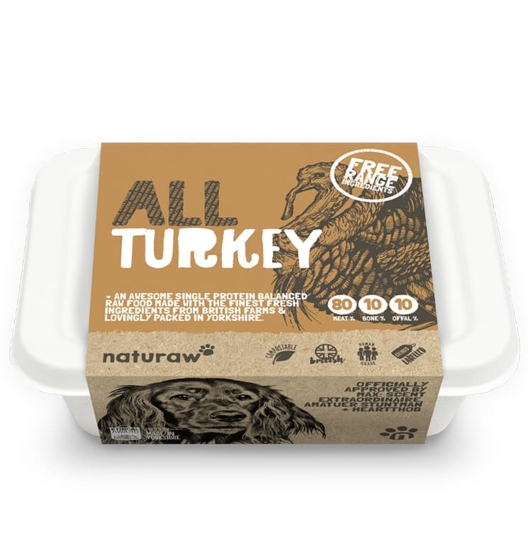 Naturaw Raw dog food. All Free Range Turkey 500g