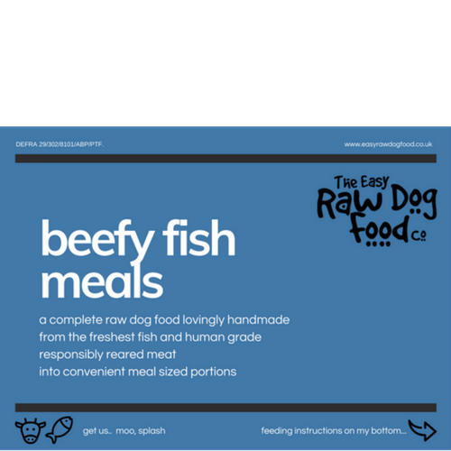 Easy Raw Dog Food Co, Beefy fish 80/10/10 meals 10x100g