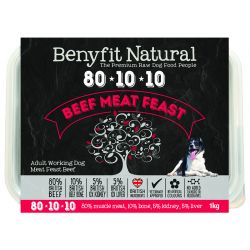Benyfit Natural 80/10/10 meat feast raw dog food. Beef