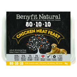 Benyfit Natural 80/10/10 meat feast raw dog food. Chicken