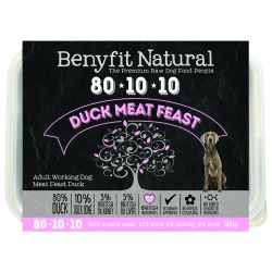 Benyfit Natural 80/10/10 meat feast raw dog food. Duck
