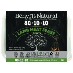 Benyfit Natural 80/10/10 meat feast raw dog food. Lamb