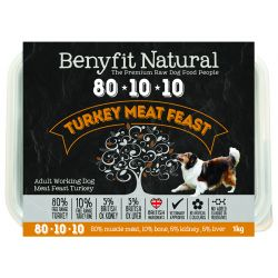 Benyfit Natural 80/10/10 meat feast raw dog food. Turkey