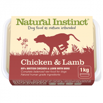 Natural Instinct Natural Range raw dog food. Chicken & lamb