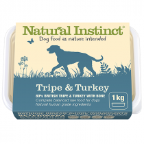 Natural Instinct Natural Range raw dog food. Tripe & Turkey