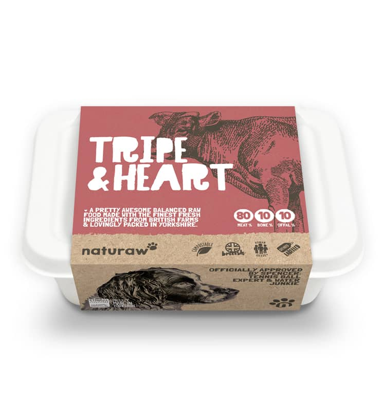 Naturaw Raw dog food. Tripe and heart 500g