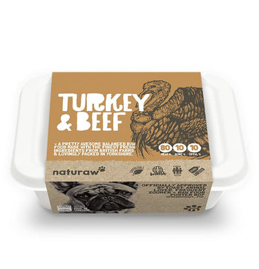 Naturaw Raw dog food. Turkey and beef 500g