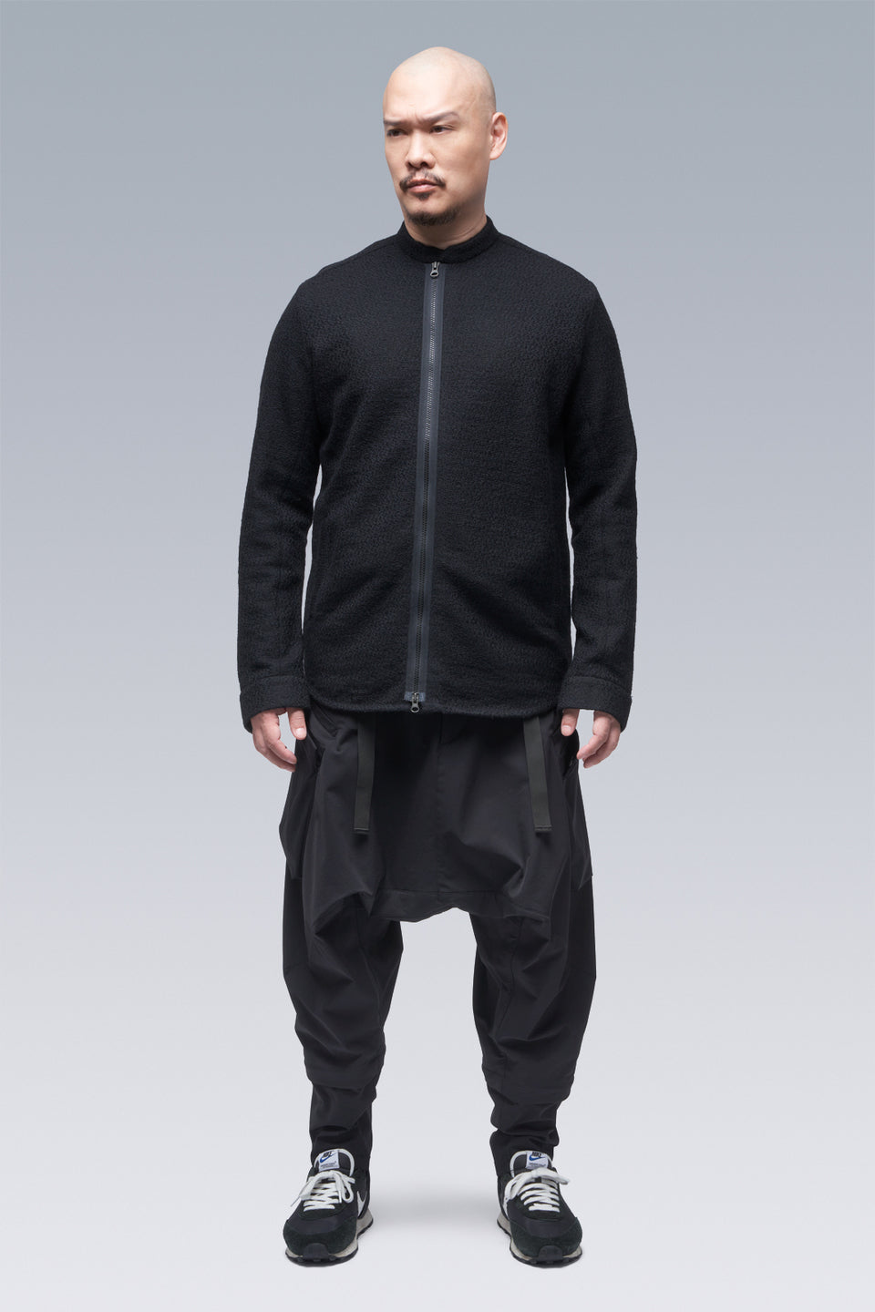 Acronym LA8-AK Cashllama Long Sleeve Zip Shirt Jacket Black