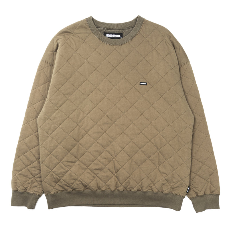 Neighborhood Quilt Crewneck Sweatshirt Olive Drab