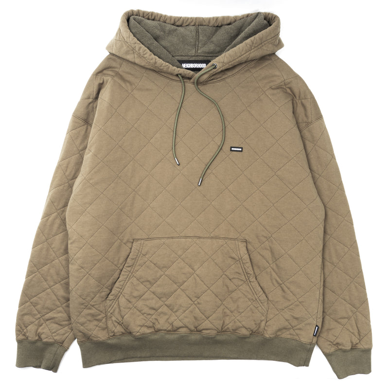 Neighborhood Quilt Hooded Sweatshirt Olive Drab