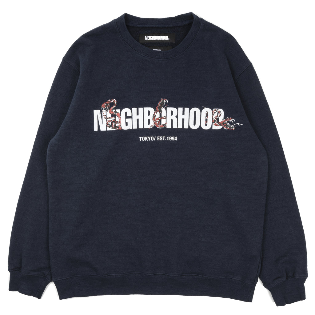 Neighborhood Slub Crewneck Sweater Navy