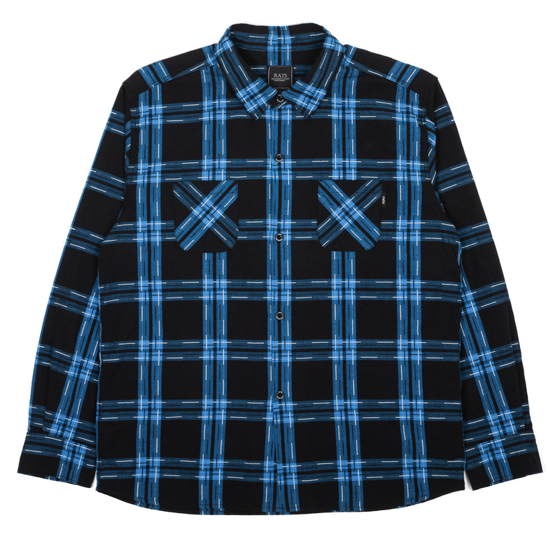 Rats Dot Check L/S Shirt Blue Check