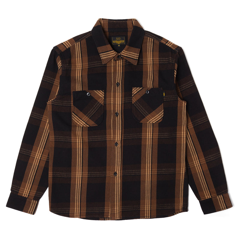 Rats Cotton Check Flannel Shirt Brown Black