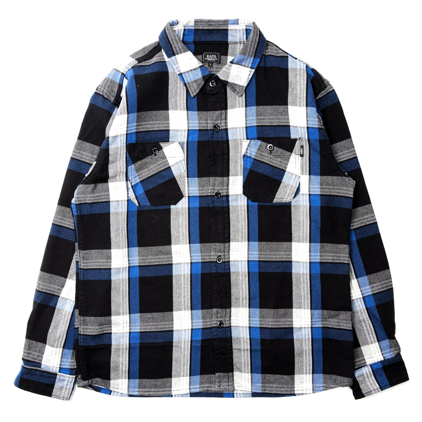 Rats Cotton Check Shirt Black Blue