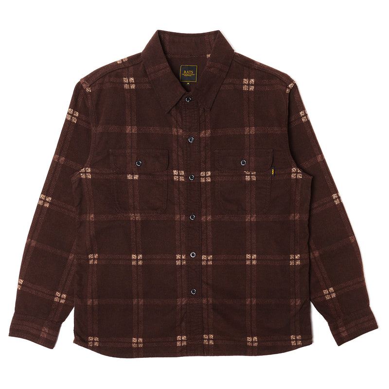 Rats Cotton Print Flannel Check Shirt Brown