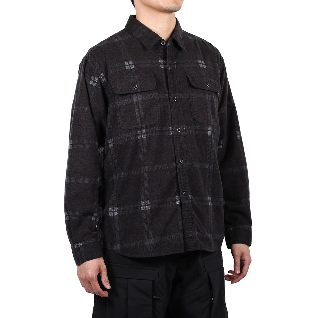 Rats Print Flannel Check Shirt Black