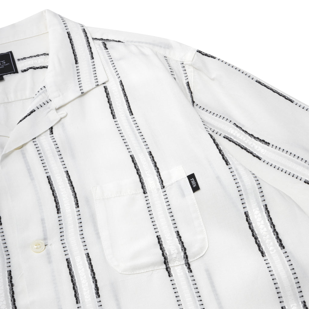 Rats White Stripe S/S Shirt White