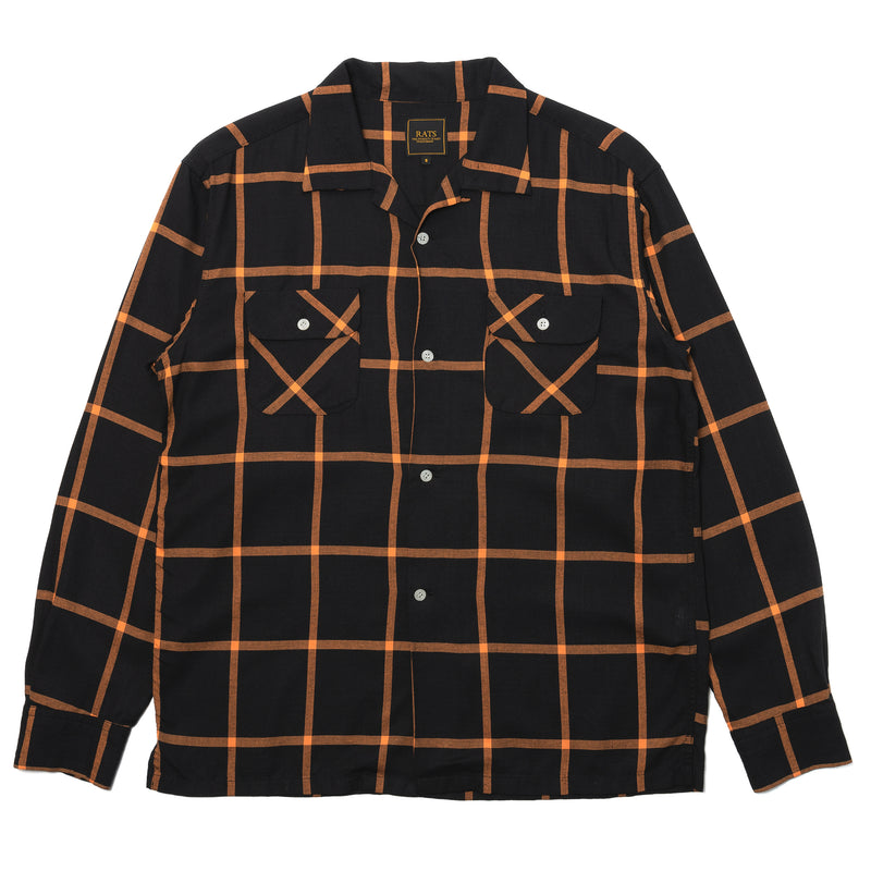 Rats Windpen Rayon Flannel Shirt Black Orange