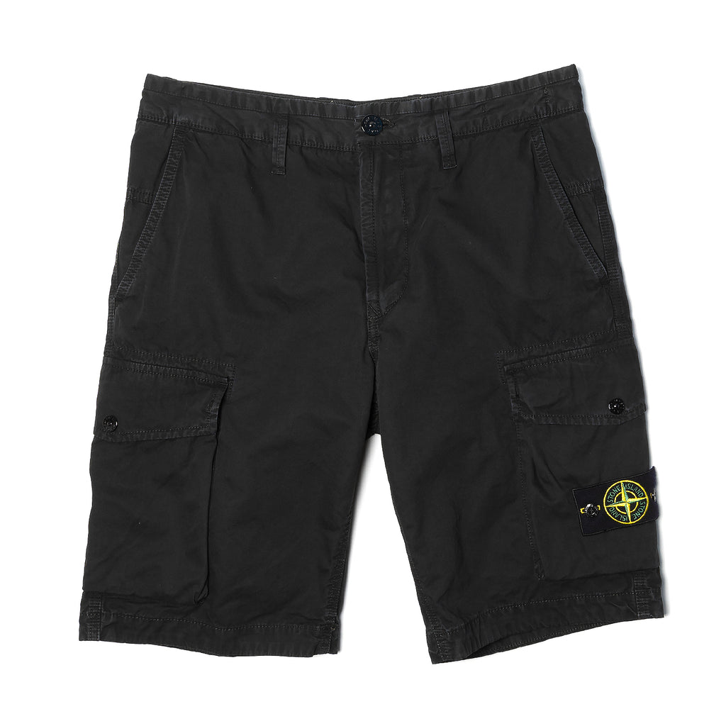 Stone Island Bermuda Cotton Cargo Shorts Black