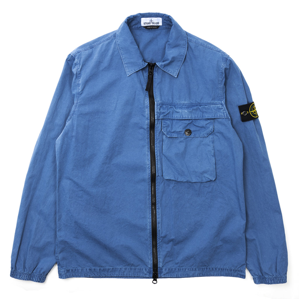 Stone Island Brushed Cotton Canvas 'Old' Overshirt Blue