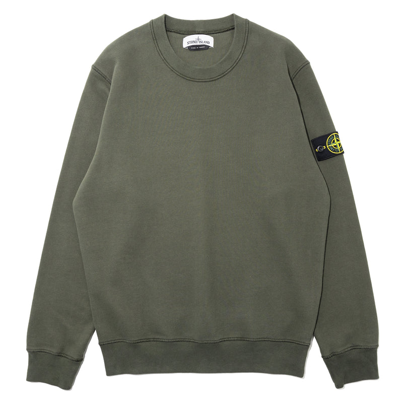 Stone Island Brushed Cotton Crewneck Green