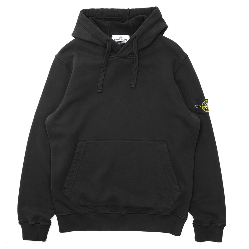 Stone Island Brushed Cotton Fleece Hoodie Black
