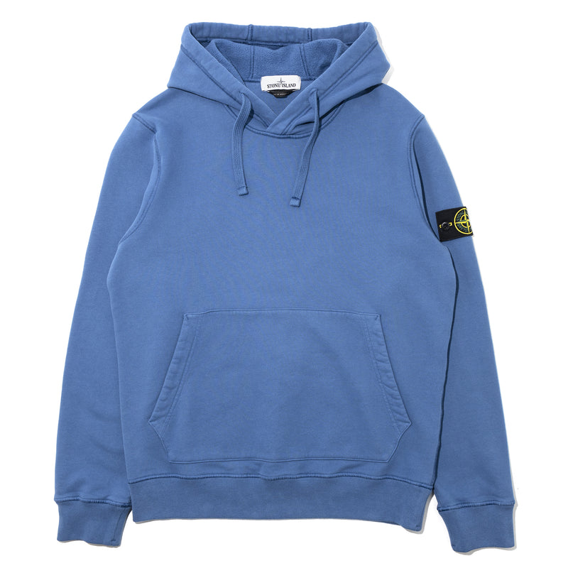 Stone Island Brushed Cotton Fleece Hoodie Blue