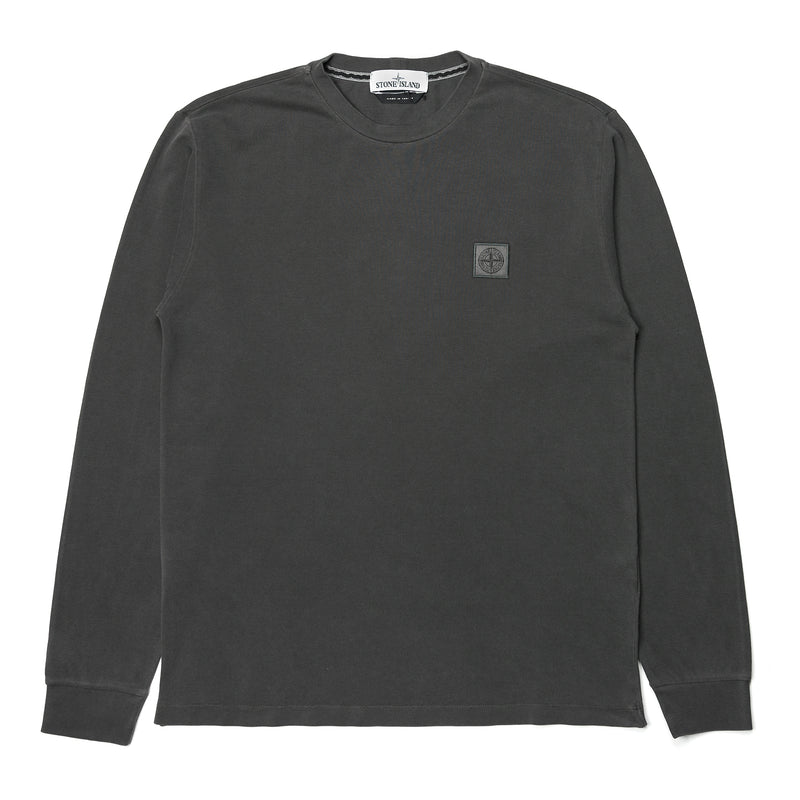 Stone Island Cotton Piqué Pigment Dyed LS Tee Anthracite