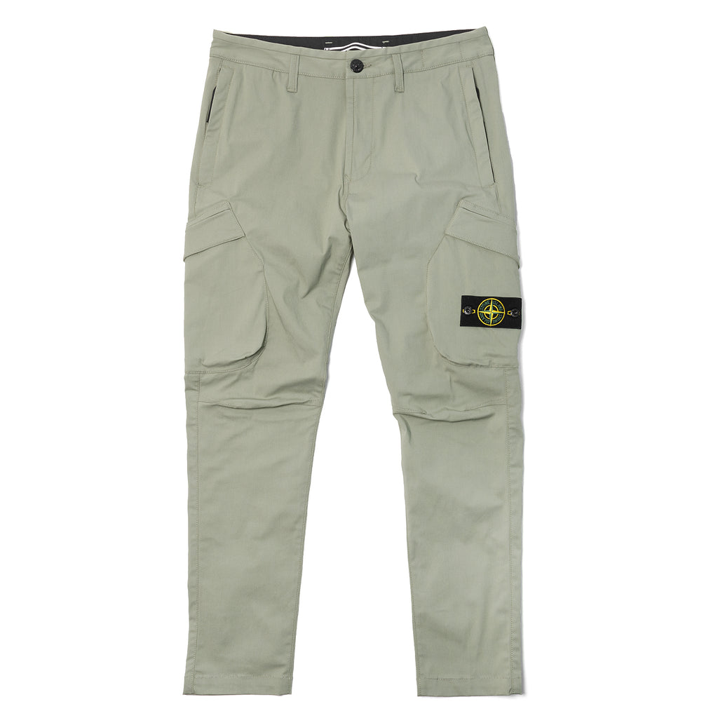 Stone Island Cotton Twill Cargo Pants Sage Green