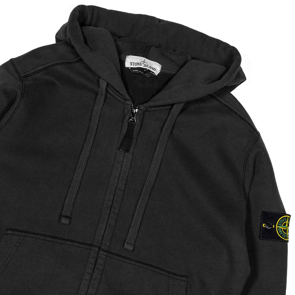Stone Island Full Zip Cotton Hooded Sweatshirt Black