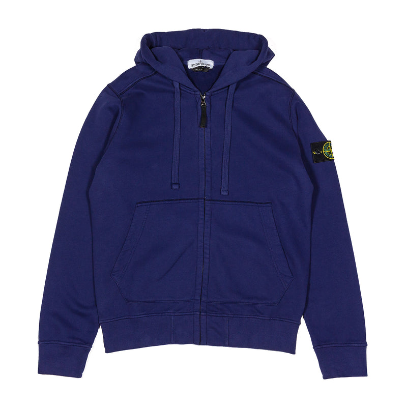 Stone Island Full Zip Cotton Hooded Sweatshirt Navy