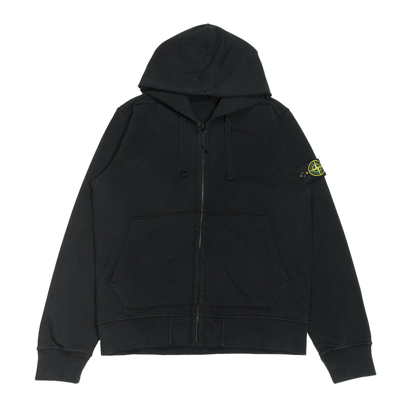 Stone Island Full Zip Hooded Sweatshirt Black