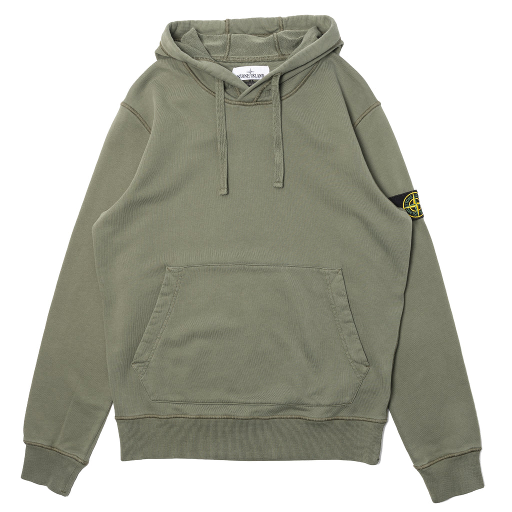Stone Island Garment Dyed Hoodie Olive Drab