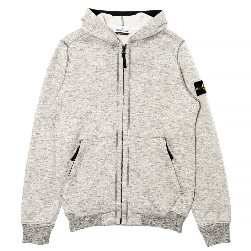 Stone Island Mouline Fleece Zip Hoodie Grey