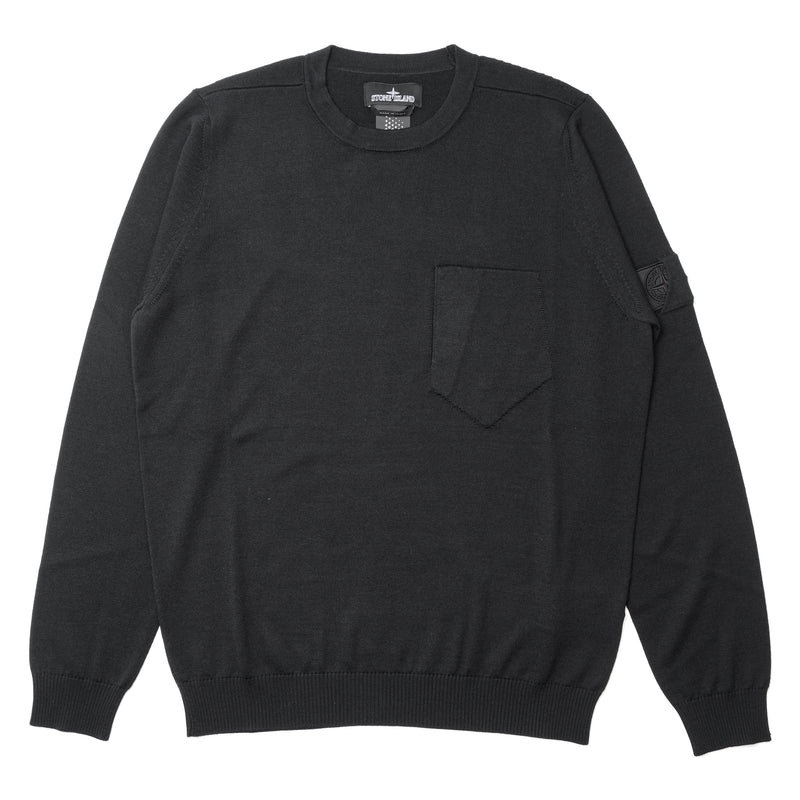 Stone Island Shadow Project Catch Pocket Wool Silk Crewneck Black