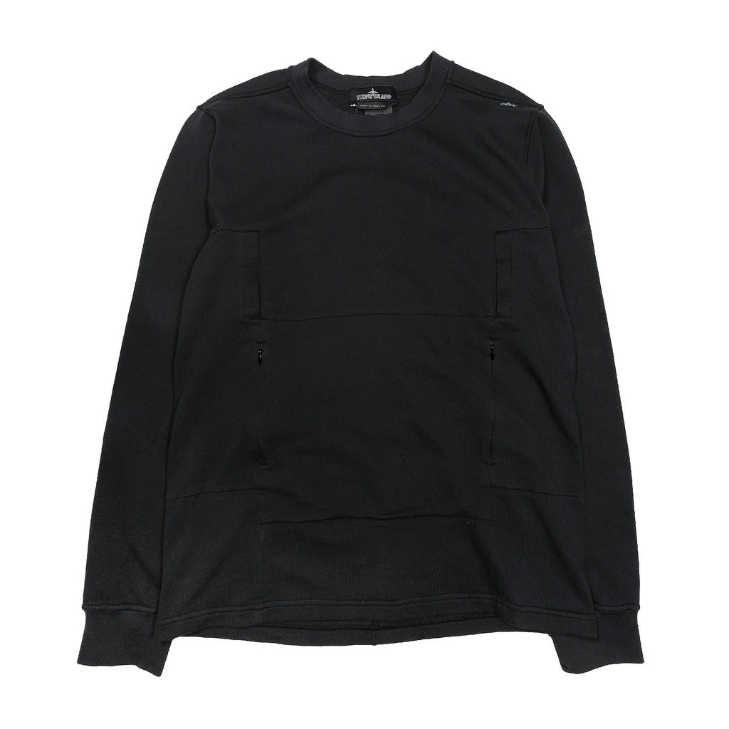 Stone Island Shadow Project Flank Pocket Crewneck Sweatshirt Black