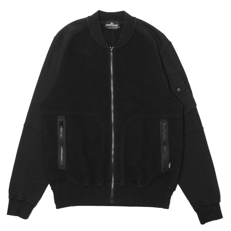 Stone Island Shadow Project Gauzed Heavy Fleece Invert Bomber Black