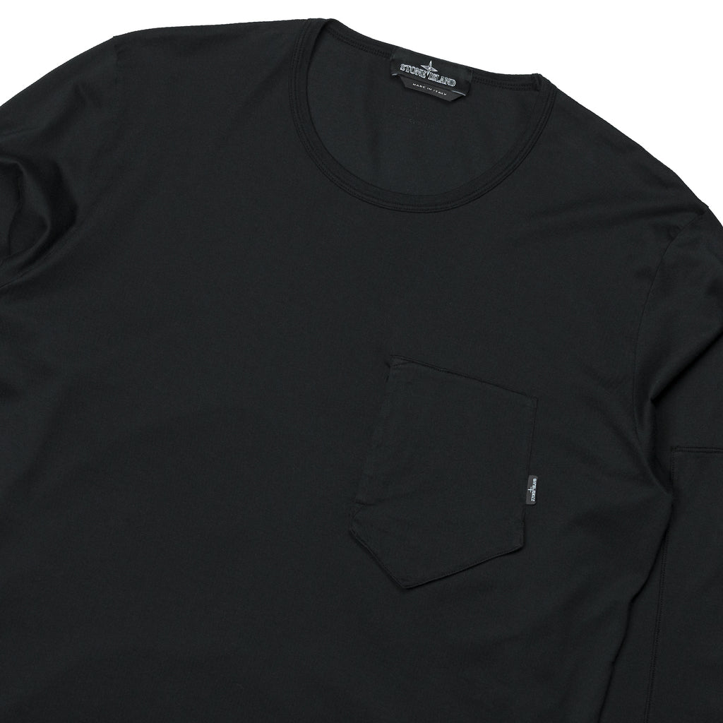 Stone Island Shadow Project Printed LS Catch Pocket T Jersey Mako Black