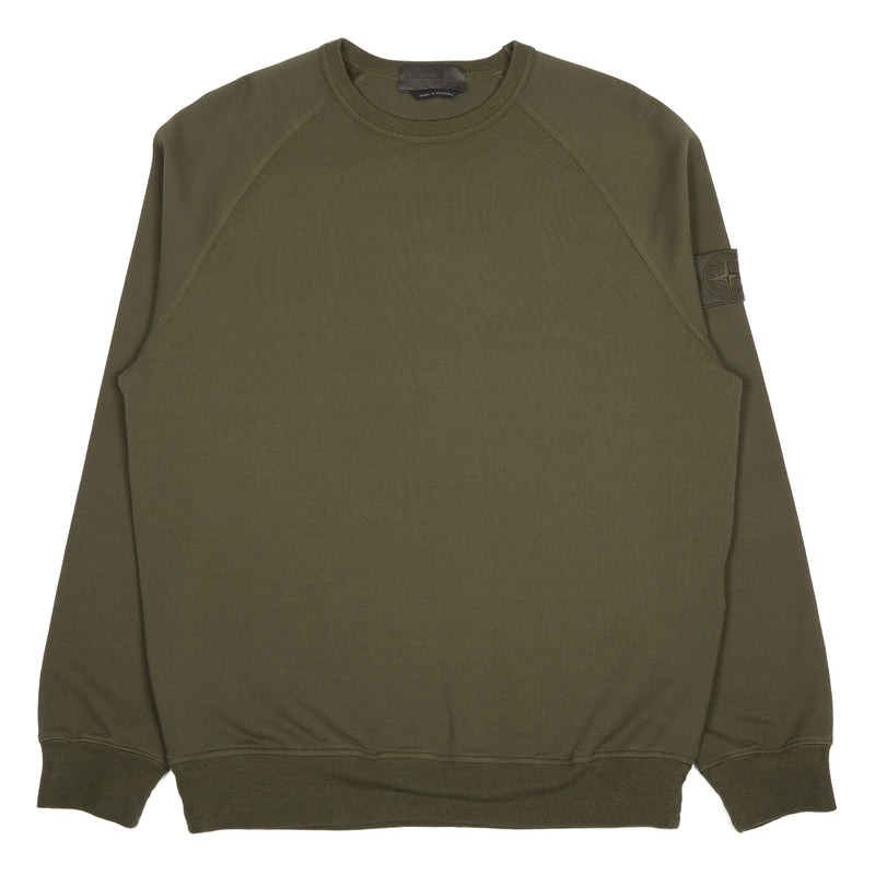 Stone Island Ghost Piece Stretch Fleece Crewneck Sweater Military Green