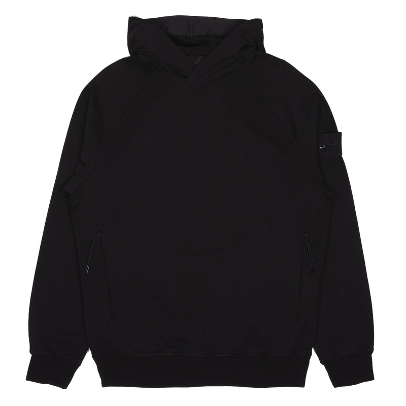 Stone Island Ghost Piece Stretch Fleece Hooded Sweatshirt Black