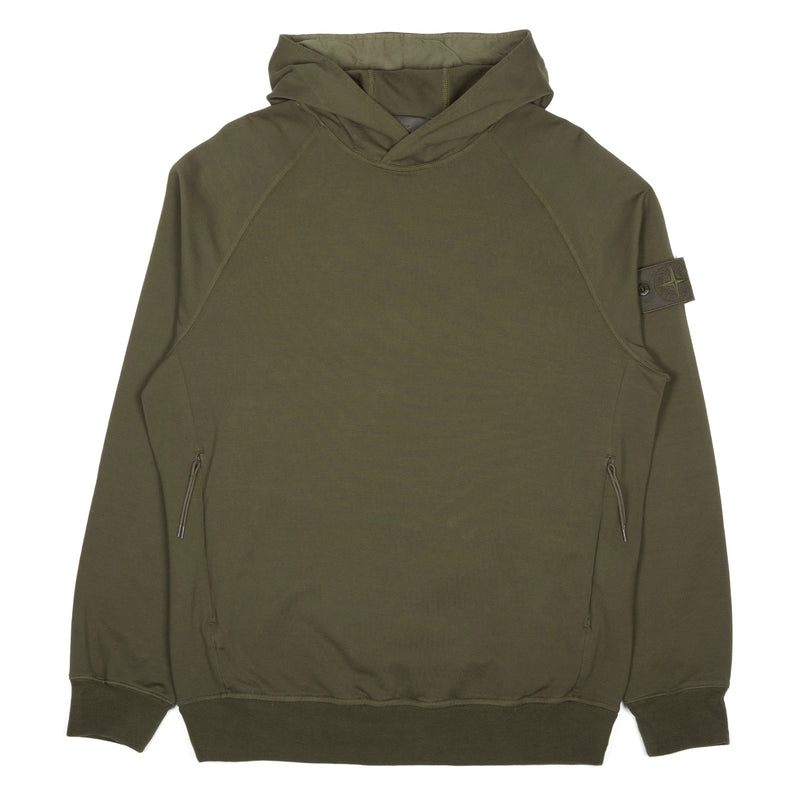Stone Island Ghost Piece Stretch Fleece Hooded Sweatshirt Military Green