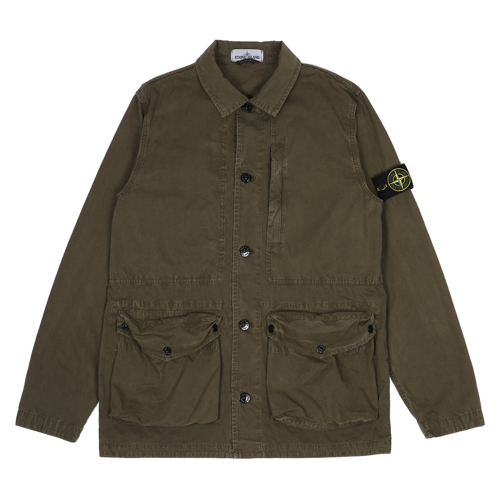 Stone Island Cotton Canvas 'Old' Jacket Olive Drab