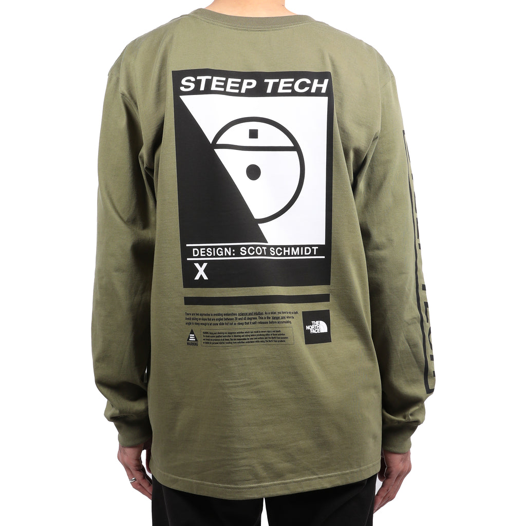 The North Face Steep Tech Logo Long Sleeve Tee Burnt Olive Green