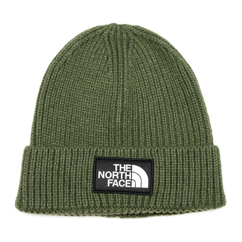 The North Face TNF Logo Box Cuffed Beanie New Taupe