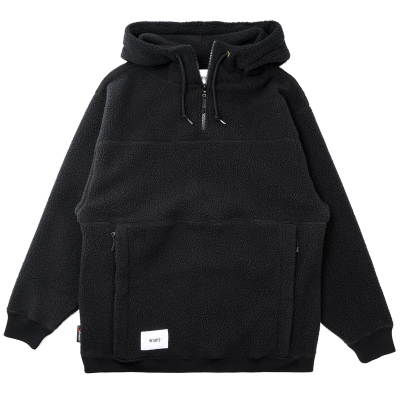 WTaps Pine Cone Fleece Hooded Sweatshirt Black