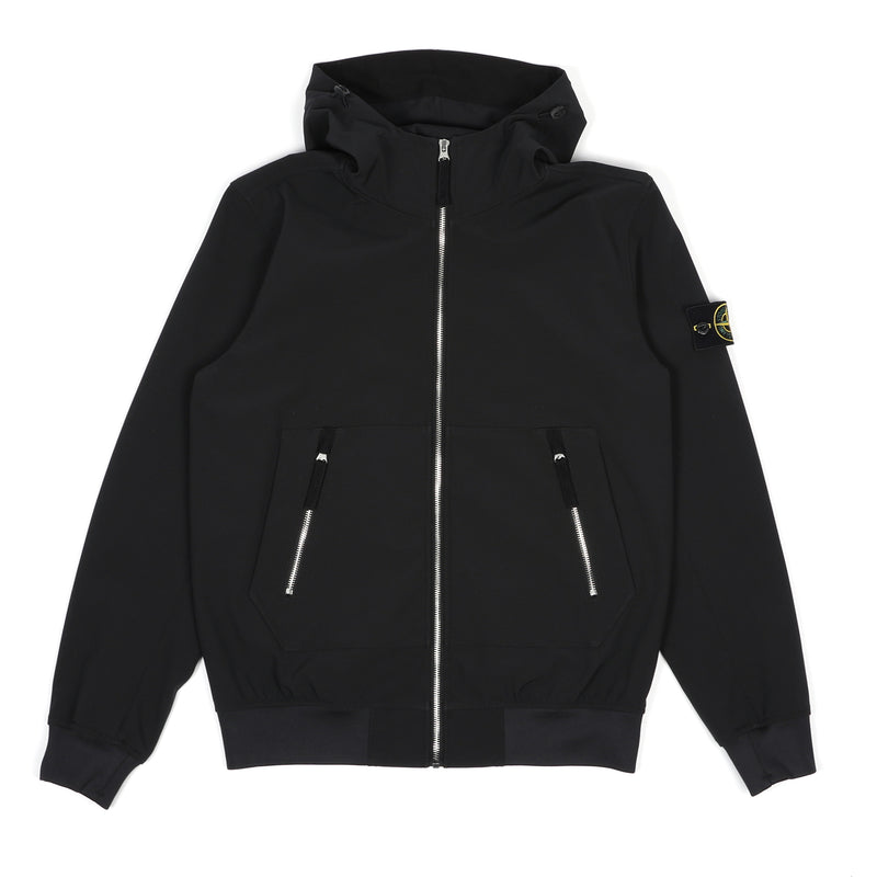 Stone Island Soft Shell-R Primaloft Insulation Hooded Jacket Black